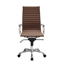 Modern Ribbed High Back Office Chair in Terra Cotta Leatherette
