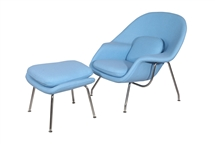 Eero Saarinen Style Womb Chair and Ottoman Set in Baby Blue