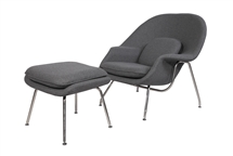 Eero Saarinen Style Womb Chair and Ottoman Set in Light Gray