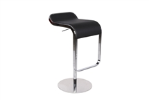 LEM Style Piston Bar Stool in Black Genuine Leather