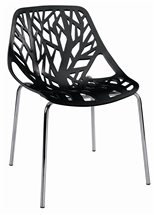 Tree Cutout Dining Chair in Black Plastic