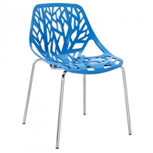 Tree Cutout Dining Chair in Blue Plastic