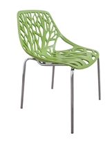 Tree Cutout Dining Chair in Green Plastic