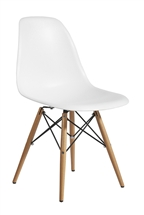 Plastic Side Chair in White with Wooden Base