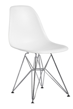 Plastic Side Chair in White with Wire Base