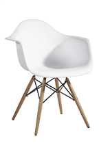 Plastic Arm Chair in White with Wooden Base