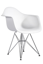 Plastic Arm Chair in White with Wire Base