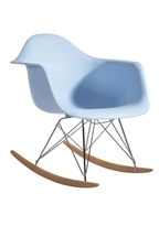 Molded Plastic Armchair Rocker in Baby Blue