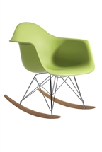 Molded Plastic Armchair Rocker in Green