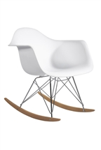Molded Plastic Armchair Rocker in White