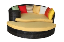 Outdoor Rattan Daybed and Ottoman Set in Brown Rattan with Multi Color Cushions