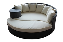 Outdoor Rattan Daybed and Ottoman Set with White Cushions