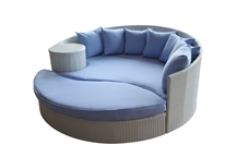 Outdoor Rattan Daybed and Ottoman Set with White Rattan and Light Blue Cushions