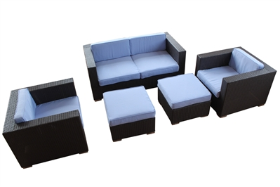 Outdoor Rattan 5 Piece Living Set with Light Blue Cushions