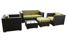 Outdoor Rattan 5 Piece Living Set with Light Green Cushions