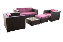 Outdoor Rattan 5 Piece Living Set with Purple Cushions
