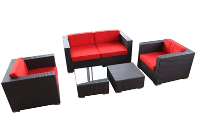 Outdoor Rattan 5 Piece Living Set with Red Cushions
