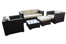 Outdoor Rattan 5 Piece Living Set with White Cushions