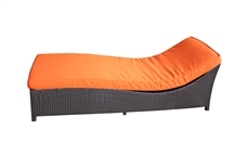Outdoor Rattan Chaise Lounge with Orange Cushion