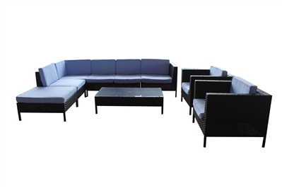 Outdoor Rattan 9 Piece Sectional Set with Light Blue Cushions