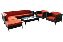 Outdoor Rattan 9 Piece Sectional Set with Orange Cushions