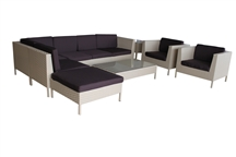 Outdoor Rattan 9 Piece Sectional Set with Tan Rattan and Brown Cushions