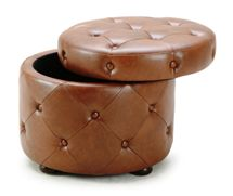 Diamonte Leather Storage Ottoman by Sunpan Modern