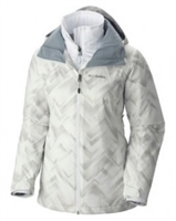 Columbia Women's Whirlibird Interchange Omni Heat Jacket - Natural White/Biege/Grey Geo Pattern