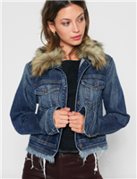 Cropped Boyfriend Jacket with Optional Fur Collar from 7 for all mankind
