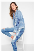 Boyfriend Jacket with Blue Rose Embroidery and Distressed from 7 for all mankind
