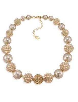Gold Pearl necklace with pave crystal balls