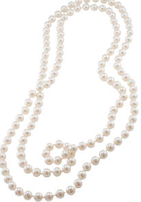 Faux Pearl 72 inch rope necklace