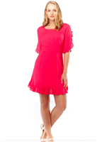 Hot Pink polyester lined Dress with hidden size zippers, ruffle sleeves and ruffle hem