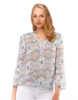 Rayon blouse in multi color print with tiny crochet details, v-neck and jewelry length sleeve