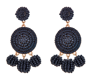 Black bead circular disc earrings with 3 beads