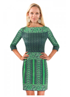 Navy and Kelly Green Border Dress in Kanga print from Gretchen Scott Designs