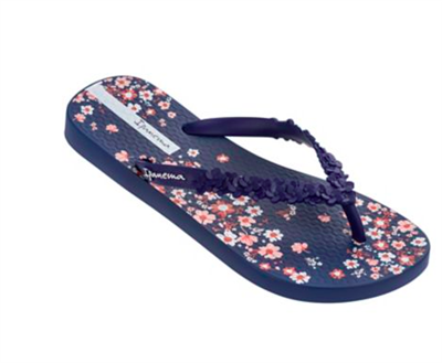 Navy rubber flip flop with navy sculpted flowers