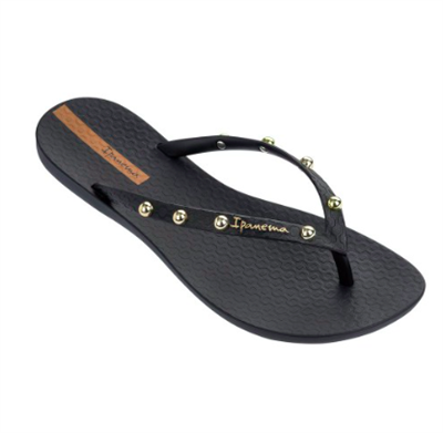 Ipanema Wave Stud Flip Flops in Black