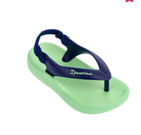 Blue thong sandal with elastic back and green sole