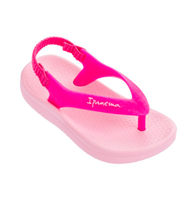 Hot pink thong sandal with elastic back