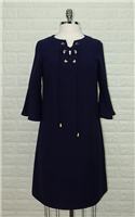 Navy blue polyester dress with ruffle 3/4 sleeve and tie front with gold grommets