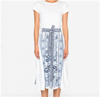 long white linen button front skirt with custom blue embroidery