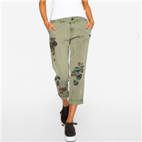 Olive Twill Pants with Embroidery from Johnny Was