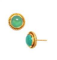 Gold post earrings with a domed cabochon of aqua chalcedony