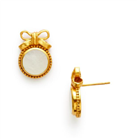 Gold post earrings with a circle of Mother of Pearl and a gold bow