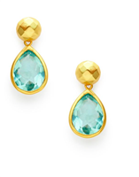 Gold post earrings with a diamond dome and aquamarine blue gemstone in a pear shape