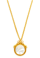 24K gold plate over brass gilded bow with mother of pearl pendant on a 38 inch chain