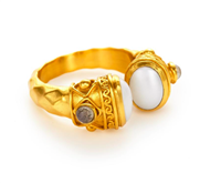 Gold ring with pearl encaps, greek key details and small labradorite stones