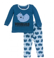 Print Long sleeve pajama set in pond wombat from Kickee Pants