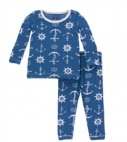 Print Long sleeve pajama set in twilight anchor from Kickee Pants